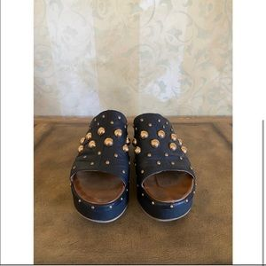Inuovo Gold Studded Leather Platforms